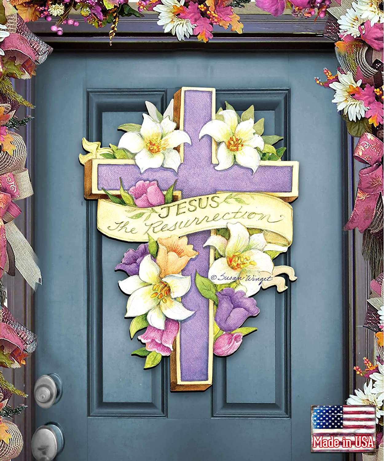 Designocracy Easter Cross He is Risen Super Special SALE held Décor by and Door Fixed price for sale Wall