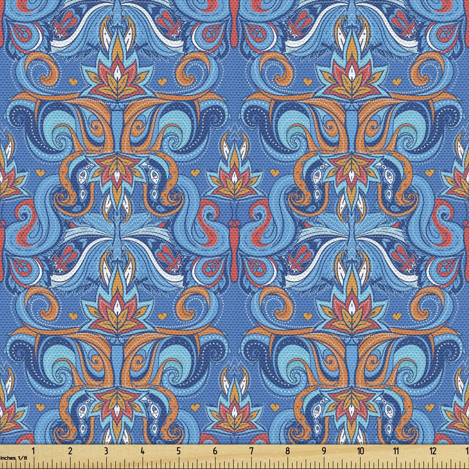 Ambesonne Blue Fabric by The Yard, Abstract Floral Pattern with Paisley Influences Ornate Curls Swirled Leaves, Decorative Fabric for Upholstery and Home Accents, 2 Yards, Orange Coral