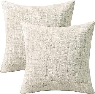 Home Brilliant Decorative Accent Pillow Case Striped Chenille Plush Velvet Cushion Cover for Sofa, 2 Pack, 18x18-inch (45cm), Cream Mixed Black