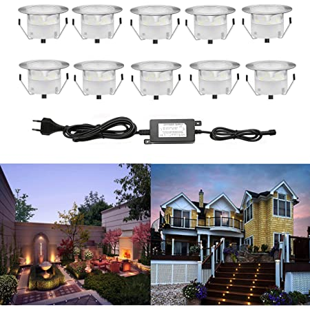 10 Kit Spot LED Eclairage Extérieur Encastrable Sol Terrasse Bois,45mm Spots Encastré Extérieur Fait en IP67 DC12V 1W Avec Alimentation EU - Décor Pour Jardin Chemin Escalier Patio Blanc Froid