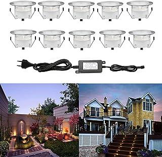 10 Kit Spot LED Eclairage Extérieur Encastrable Sol Terrasse Bois,45mm Spots Encastré Extérieur Fait en IP67 DC12V 1W Avec...