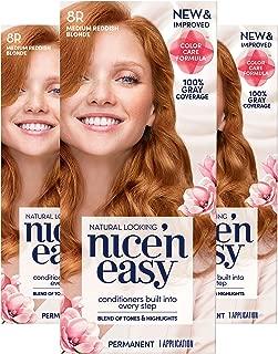 Clairol Nice'n Easy Permanent Hair Color, 8R Medium Reddish Blonde, 3 Count