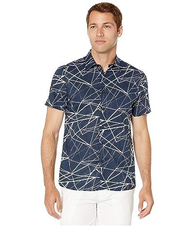 Perry Ellis Portfolio Shattered Labyrinth Print Shirt (Dark Sapphire) Men