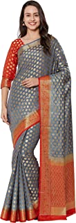 Viva N Diva Sarees for Women's Banarasi Kanchivaram Silk Saree with Un-Stiched Blouse Piece,Free Size