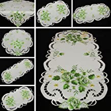 Quinnyshop Doily Embroidered with Green Rose 16-Inch (40 cm) Round Satin Look Polyester, White