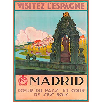 Amazon Com A Slice In Time Visitez L Espagne Madrid Spain Spanish Europe European Vintage Travel Wall Decor Advertisement Art Poster Print 10 X 13 5 Inches Posters Prints