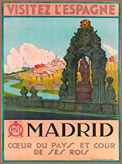 A SLICE IN TIME Visitez L' Espagne Madrid Spain Spanish Europe European Vintage Travel Wall Decor Advertisement Art Poster Print. 10 x 13.5 inches.