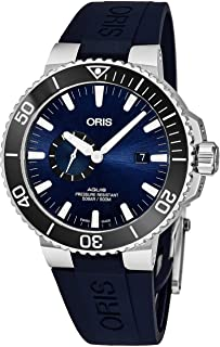 Aquis Small Second Date Mens Stainless Steel Automatic Diver Watch - 45mm Analog Blue Face Blue Rubber Band Swiss Luxury 500M Waterproof Dive Watch for Men 01 743 7733 4135-07 4 24 65EB