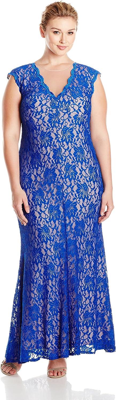 Xscape Womens Plus Size Long Lace with Illusion Vneck Dress