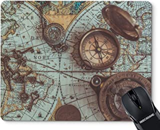 NUOCHUANG Antique Pirate Rare Items Collections Including with a Compass Ancient World Map Mouse Pads Design Non-Slip Rubber Computer Mouse Pad