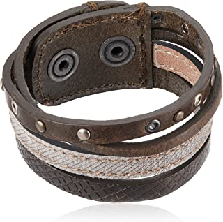 A-MUSED Multiple-Strand Leather/Denim Unisex Cuff Bracelet, Brown