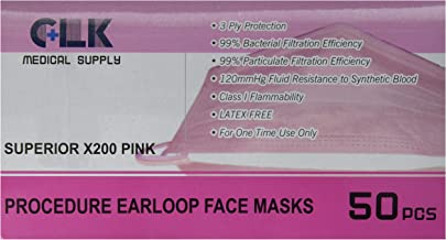 Earloop Procedure Face Masks, PINK, Box of 50, 3 ply, (Light and Soft) (FDA, CE, ASTM Level I, EN14683 Type I) (99% BFE, 99% PFE)(Superior-X200) by CLK
