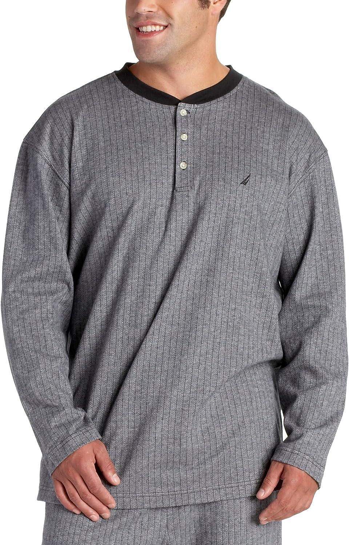 Nautica Sleepwear Limited time cheap sale Men's Herringbone Our shop most popular Long Henley Sleep Sleeve Na