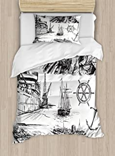 Ambesonne Nautical Duvet Cover Set, Fisherman Captain Seaman Sailboat Old Historic Sketch Monochromic Style Artwork, Decorative 2 Piece Bedding Set with 1 Pillow Sham, Twin Size, White Black