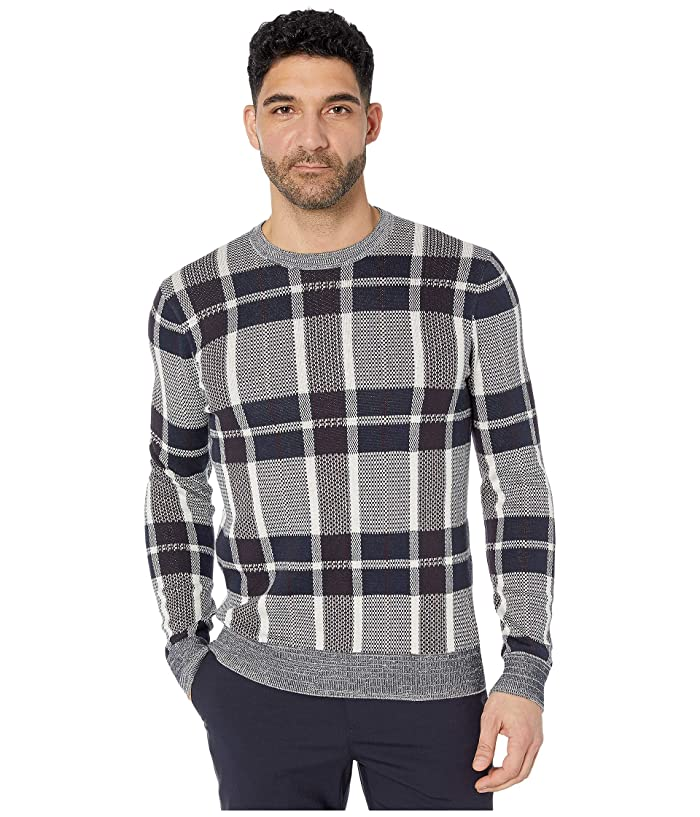 Perry Ellis  Plaid Texture Crew Sweater (Cream) Mens Clothing
