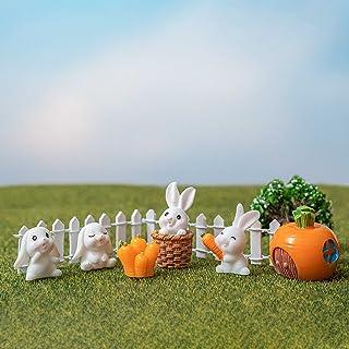 Fairy Garden Kit Bunny Outdoor Statues Miniatures Garden Set of 7 Rabbit Figurines for Fairy Garden Bonsai & Planter Terra...