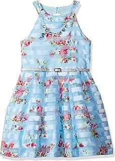 فستان جميل للفتيات بدون أكمام مزين بالزهور بأربطة