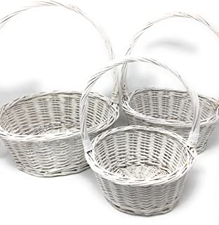 Madol Stackable Woven White Willow Round Wicker Basket With Handle [WW2824]- 3 Piece