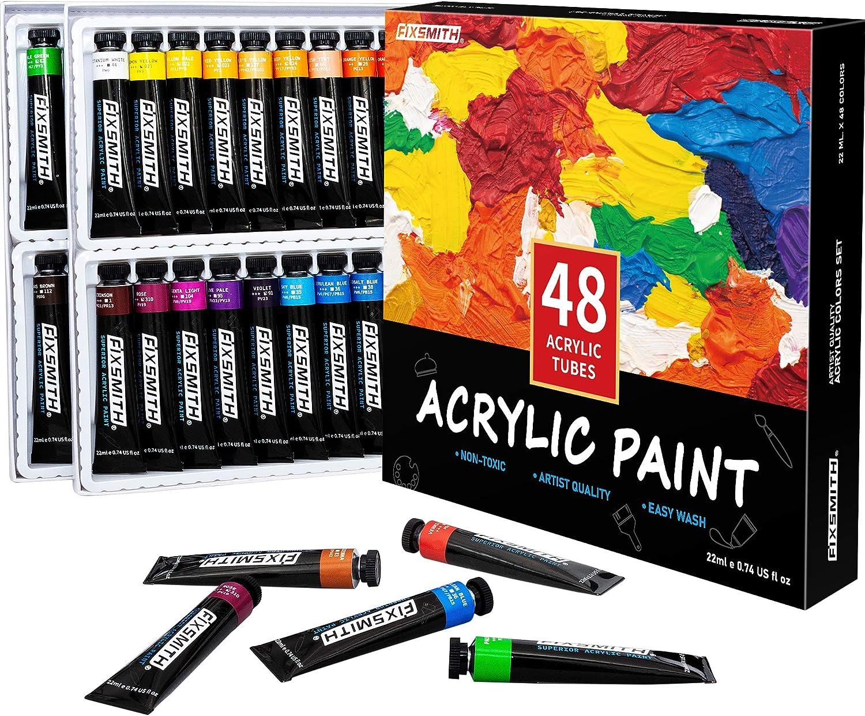 FIXSMITH Acrylic Paint Set of 48 ml Under blast sales oz 22 Max 90% OFF Colors Tubes 0.74