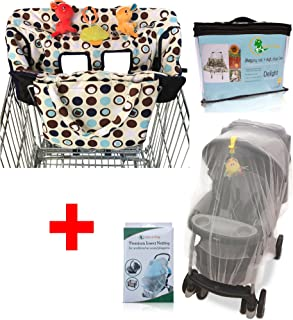 Croc n frog Baby Travel Accessory for Shopping |Value Pack of Shopping Cart Cover & Mosquito Net for Stroller, Crib, Bassinet