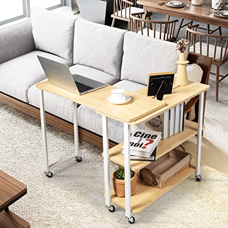 Couch Side Table Snack Table for Home Office Mobile End Table with 2-Tier Storage Shelves Tangkula 360/° Free Rotating Sofa Side Table Movable Sofa Table with Sturdy Metal Frame Walnut