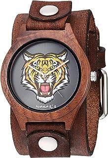 Nemesis Jayden BFBN262T - Correa de piel de cuarzo analógico, color café, 38 relojes informales