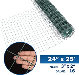 Fencer Wire 16 Gauge Green Vinyl Coated Welded Wire Mesh Size 2 inch X 3 inch (2 ft. x 25 ft.)