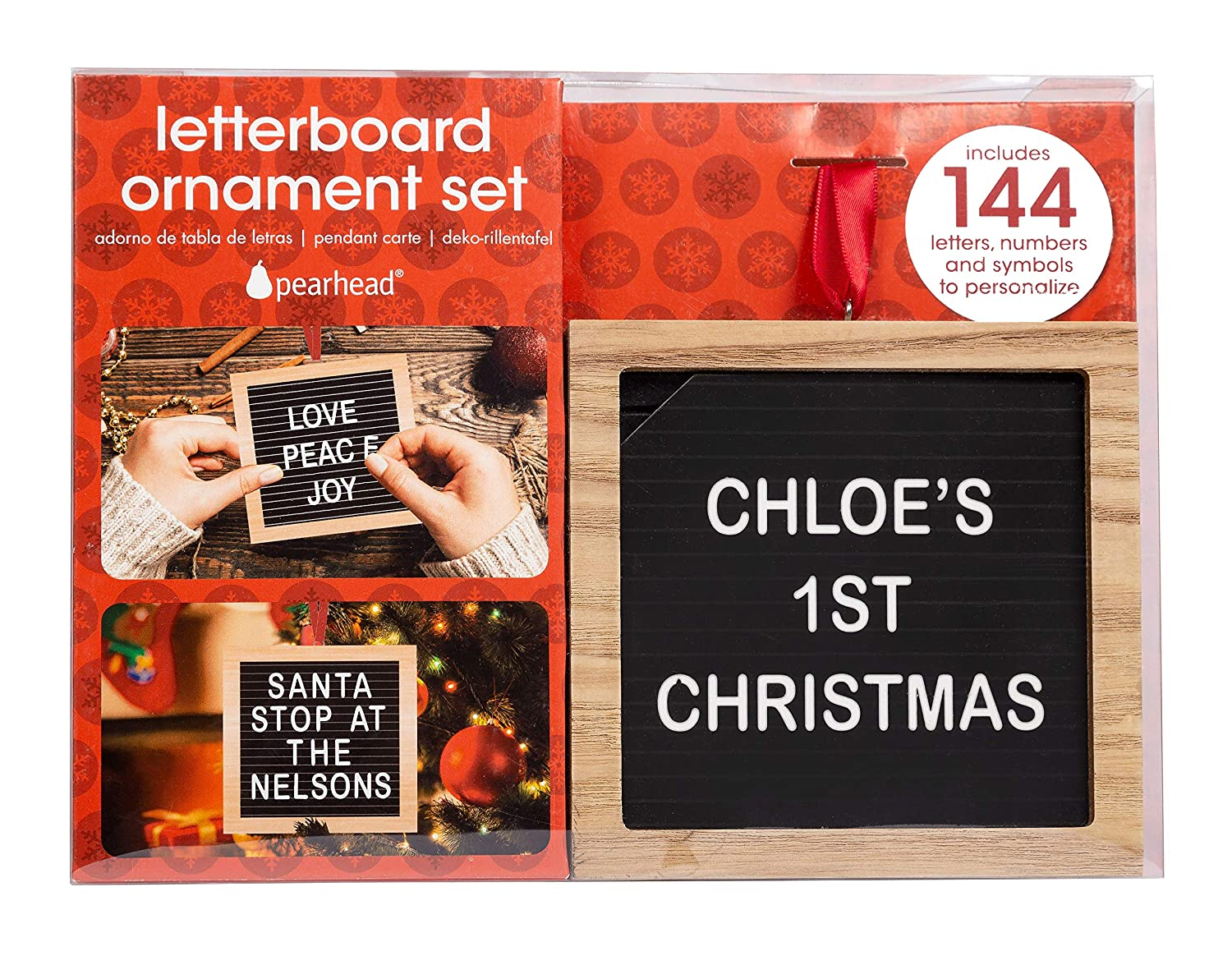 Pearhead Holiday Letterboard Ornament Set, Christmas Countdown or Baby Announcement Message Board