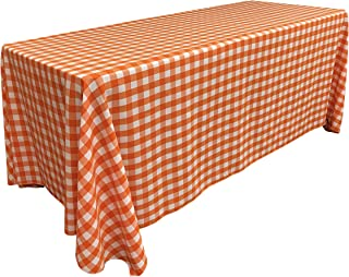 "LA Linen Poly Checkered Rectangular Tablecloth 90"" x 156"", Orange and White"