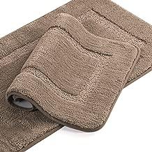 Microfiber Shag Bath Rug Set Non-Slip Super Soft Water Absorbent Tufted Thick Bath Rugs Mats for Bathroom Bath Rugs Set, Machine-Washable, 20 x 32/17 x 24 Taupe