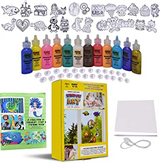 KOKO AROMA Window Paint Art Craft Kit-Boy Girl-Toys Age 6-12 Suncatchers–Toddler Children's DIY Sticker Windows Clings with Fun Story Coloring Book–[24] Sun Catchers[12] Paints Mirror Arts