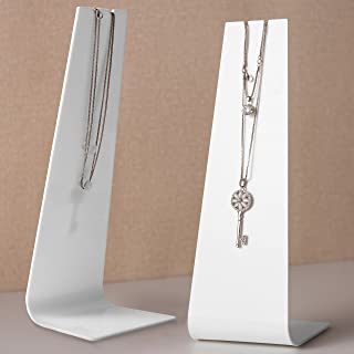 MyGift Modern White Acrylic Necklace Display Stand, Set of 2