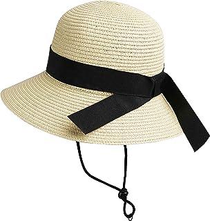 Girls Wide-Brim Straw Sun-Hat for Summer Beach with Bow 9...