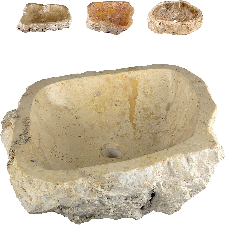 Divero Natur-Stein Waschschale Tortona Aufsatz-Waschbecken Handwaschbecken Marmor innen poliert auen naturbelassen creme beige wei