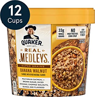 Quaker Real Medleys Super Grains Oatmeal+, Banana Walnut, Oatmeal Cups, 12 Count
