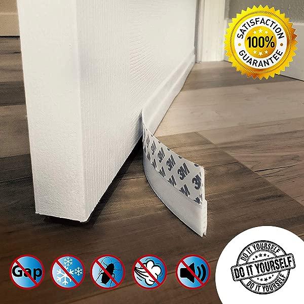 Door Draft Stopper High Performance Silicone Door Sweep W VHB Adhesive 3M Strip Draft Blocker For Under Door Seal Gap Interior Exterior Doors Weather Stripping Soundproof Draft Guard Insulator