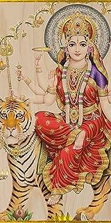 World Religion Hindu Goddess Durga on Tiger - Plywood Wood Print Poster Wall Art
