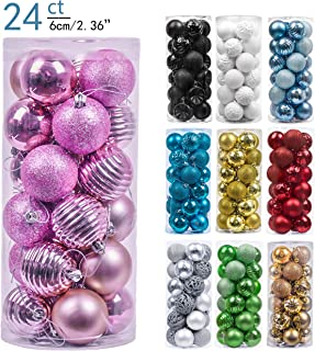 Valery Madelyn 24ct 60mm Essential Pink Basic Ball Shatterproof Christmas Ball Ornaments Decoration for Christmas Tree