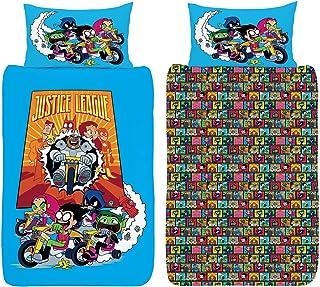 Teen Titans Go - Juego de cama individual reversible oficial – Robin, Beast Boy, Starfire, Raven & Cyborg – polialgodón Teen Titans Go Single Duvet Cover