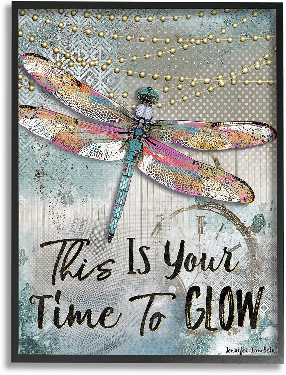 Stupell Industries Home bluee Lights This is Your Time to Glow Inspirational Dragonfly Framed Giclee Texturized Art, Multi-color