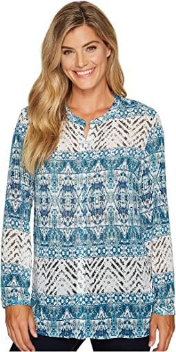 Tribal - Long Sleeve Printed Button Front Blouse