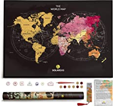 Scratch Off World Map Poster - Travel Gifts for World Travelers - Traveler Room Gifts Decor - Large Scratchable Travel Wall Art 33x23 - Watercolor, Glossy Finish, Memory Stickers, Scratcher.