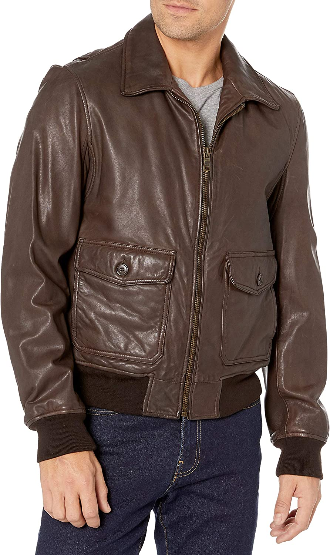Tommy Hilfiger Men's Lamb Leather Flight Bomber Jacket