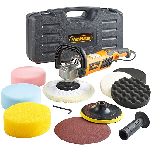 VonHaus Car Polisher Kit - Rotary Polishing/Sanding Machine 1200w with Sponges, Buffer Pads Paper 8 Accessory Kit – 600-3000 RPM Variable Speed – Auxiliary D Handle – Car, Boat, Motorbike