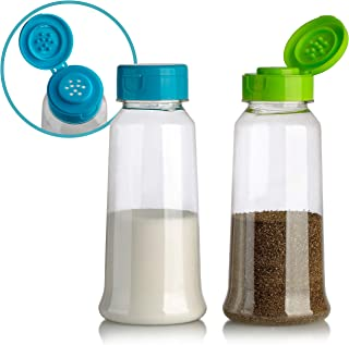 Zilpoo Set of 2 - Large Plastic Salt and Pepper Shakers with Lid, Tall Cooking Spice Dispenser, Seasoning Container Pourer with Shaker Lids, 8.5 oz.