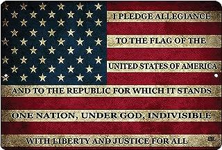Rogue River Tactical USA American Flag Metal Tin Sign Wall Decor Man Cave Bar US Pledge of Allegiance