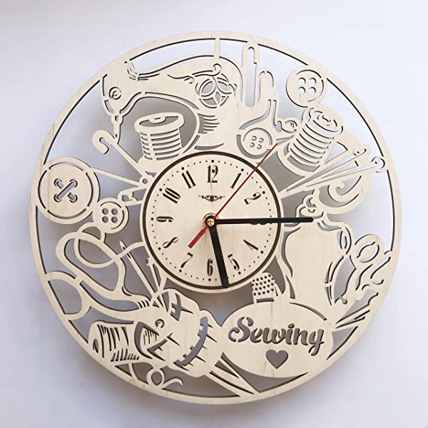 7ArtsStudio Sewing Wall Clock Made Of Wood Perfect And Beautifully Cut Decorate Your Home With Modern Art Unique Gift For Him And Her Size 12 Inches