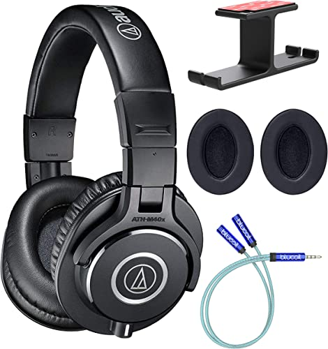 high quality Audio-Technica ATH-M40x Professional Studio Monitor Headphones Bundle with Blucoil high quality Aluminum Headphone Hook, Y online sale Splitter Cable for Audio & Mic, and 2-Pack of Headphone Replacement Earpads outlet online sale