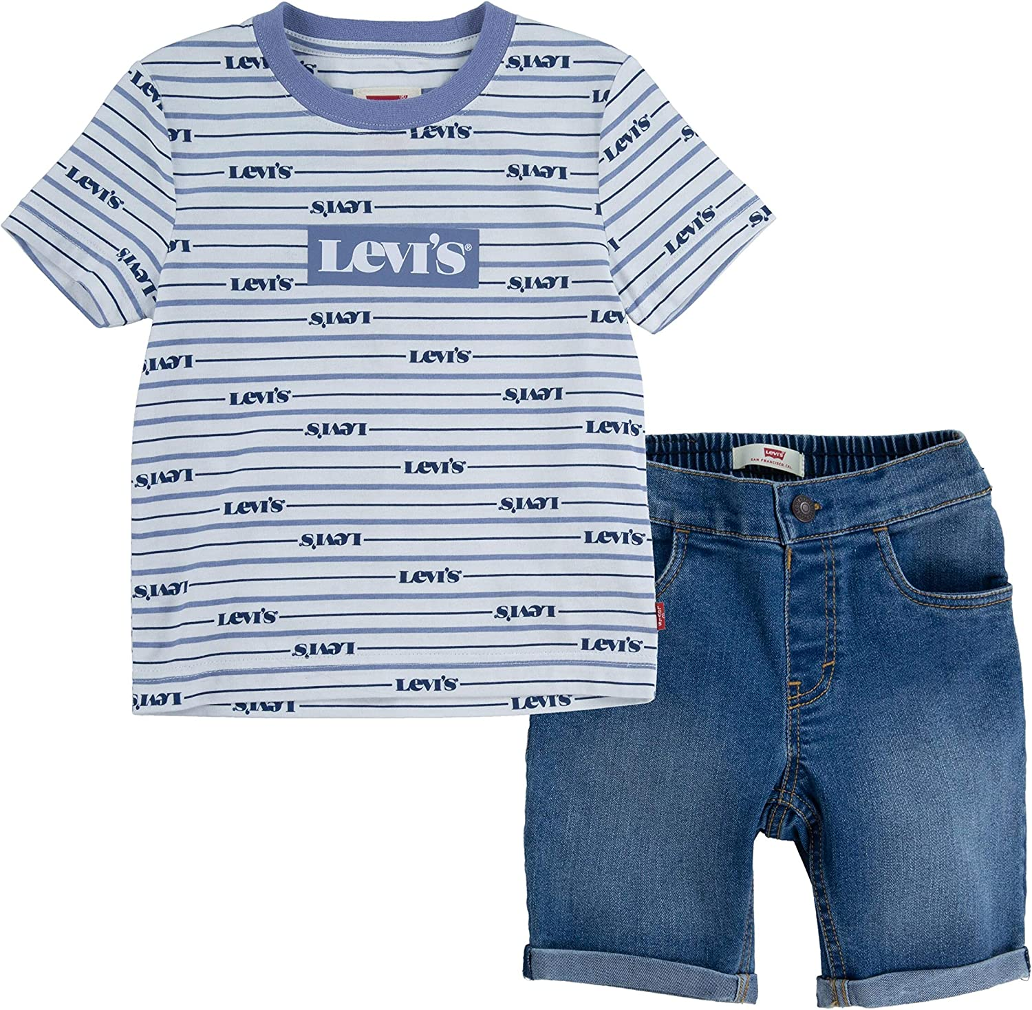 Levi's baby-boys Large discharge sale Graphic T-shirt and Shorts Set Cheap SALE Start 2-piece Outfit