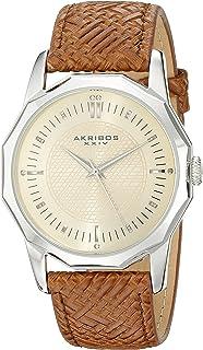 Akribos XXIV Men's AK825SSBR Quartz Movement Watch with Yellow Gold Dial and Brown Leather Strap